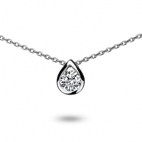 Collier diamant 0.20 ct Or Blanc 1.95g Glamour