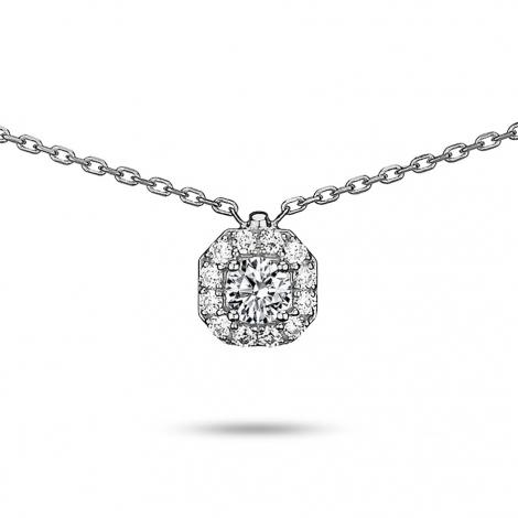 Collier diamant 0.20 ct Or Blanc 2g Envoutante