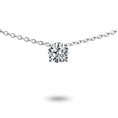 Collier diamant 0.20 ct Or Blanc 3g Célia