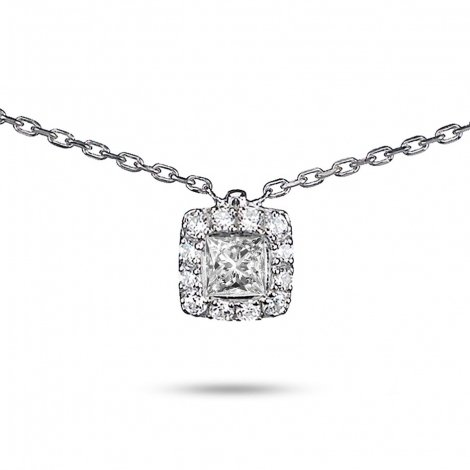 Collier diamant 0.25 ct Or Blanc 2g Princesse