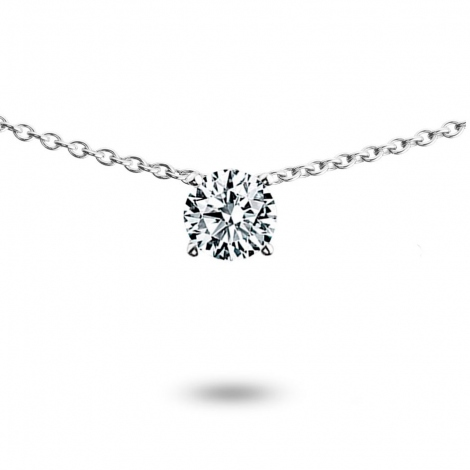 Collier diamant 0.25 ct Or Blanc 3g Stefania