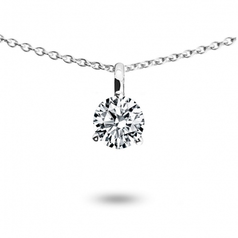 Collier diamant 0.30 ct Or Blanc 1.4g Amour
