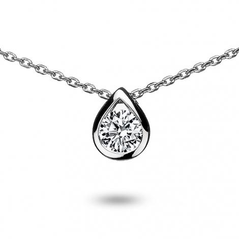 Collier diamant 0.30 ct Or Blanc 2g Floralie