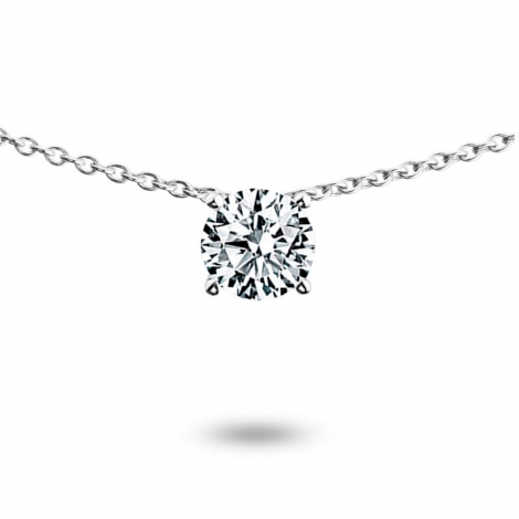 Collier diamant 0.30 ct Or Blanc 3g Jasmine