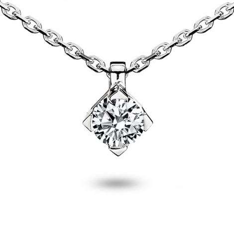 Collier diamant 0.50 ct Or Blanc 4.1g Ivanna