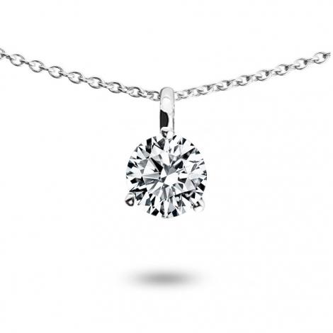 Collier diamant 0.52 ct Or Blanc 1.4g Bonheur
