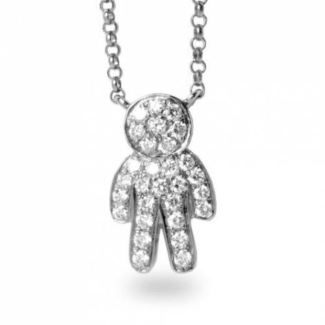 Collier diamant tendance Or Blanc 0.2 ct Salome - FR28-P5498