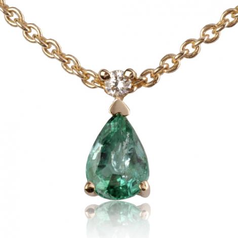 Collier Emeraude 0.40 ct serti d'un diamant diamant Élya - CL4315-EM0.40