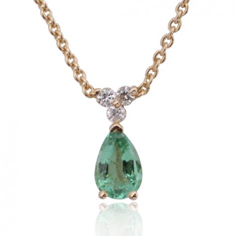 Collier émeraude 0.40 ct serti de 3 diamants 0.03 ct diamant Carla - CL4317-EM0.40