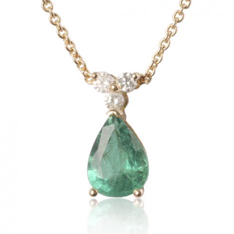 Collier émeraude poire de 1 carat serti de diamants 0.09 ct diamant Cassiopée - CL4317-EM1