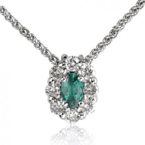 Collier Emeraude 0.18 ct entouré de diamants 0.32 ct diamant Coralie - CL3829-EM0.18