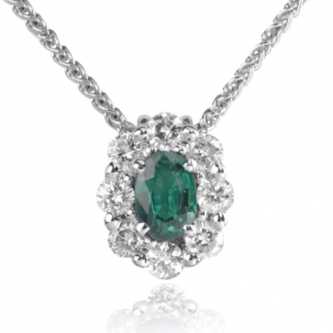 Collier Emeraude ovale 0.50 ct serti de 0.52 ct de diamants diamant Daphnée - CL3828-EM0.50