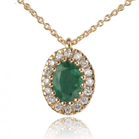 Collier Emeraude ovale 1 ct entouré de diamants 0.16 ct diamant Douceur - CL4310-EM1