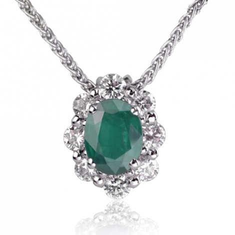 Collier Emeraude ovale de 1 carat serti de 0.60 ct de diamants diamant Espoir - CL3827-EM1
