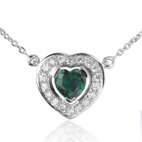 Collier Emeraude coeur0.50 ct serti de diamants 0.18 ct diamant Fanny - CL4371-EM0.50