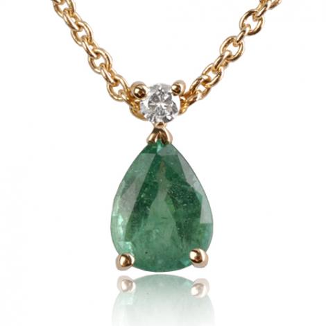 Collier Emeraude 0.80 ct serti d'un diamant diamant Héloïse - CL4315-EM0.80