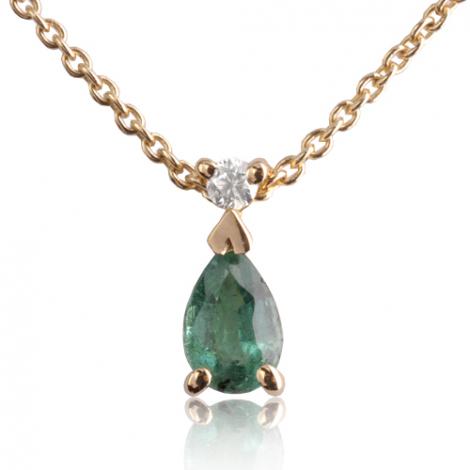Collier Emeraude 0.22 ct serti d'un diamant diamant Kristina - CL4315-EM0.22