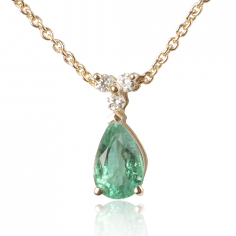 Collier émeraude poire 0.80 ct serti de 3 diamants 0.06 ct diamant Lisa - CL4317-EM0.80
