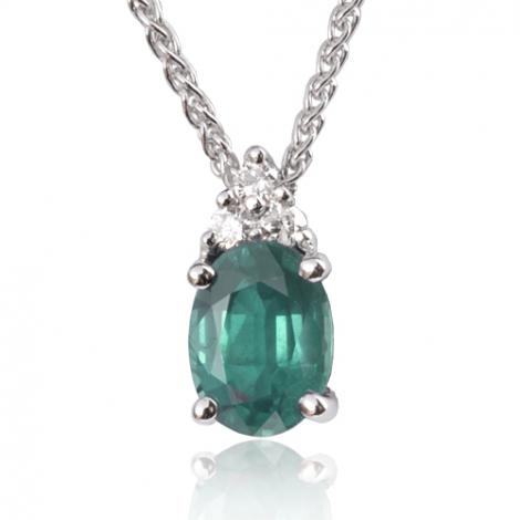 Collier émeraude 1.20 ct serti de diamants 0.09 ct diamant Meredith - CL3247-EM1.20