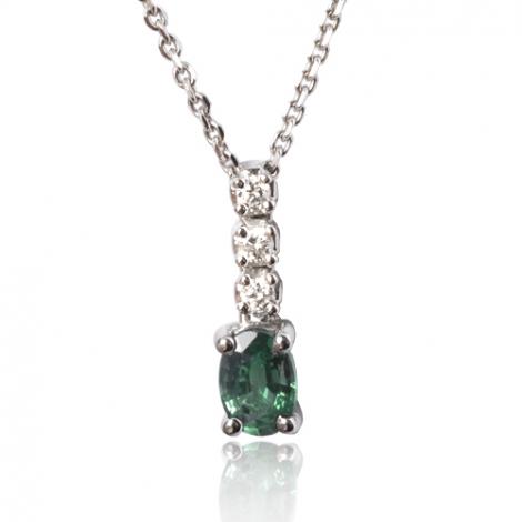 Collier émeraude ovale 0.50 ct serti de diamants 0.09 ct diamant Valeriya - CL3922-EM0.50