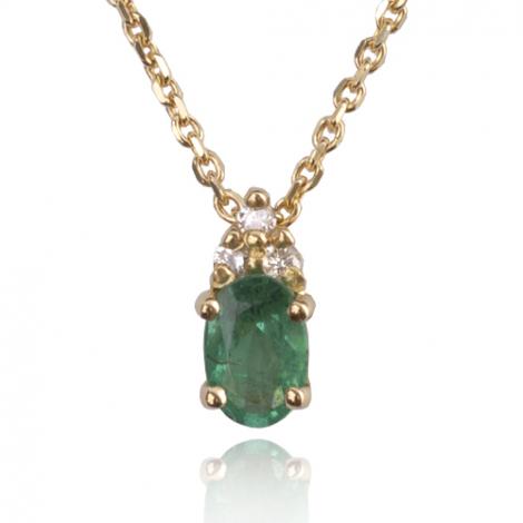Collier émeraude 0.50 ct serti de 3 diamants 0.06 ct diamant Yustina - CL3245-EM0.50