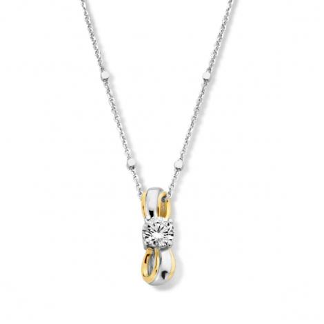 Collier en argent bicolor + pendentif serti de zirconium Naiomy Silver Silver - Femme - Alana - N1F58