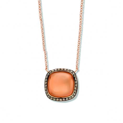 Collier Pierre de Lune Orange diamant 0.18 ct One More Amiata 053379H3