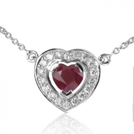 Collier Rubis forme coeur 0.60 ct serti de diamants 0.18 ct diamant Kyana - CL4371-RU0.60