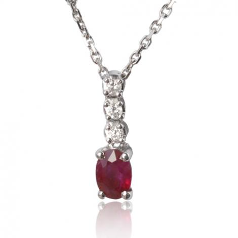 Collier rubis ovale 0.60 ct serti de dimats 0.09ct diamant Azaly - CL3922-RU0.60