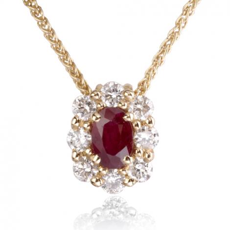 Collier Rubis ovale 0.60ct serti de diamants 0.52 ct diamant Lola - CL3828-RU0.60