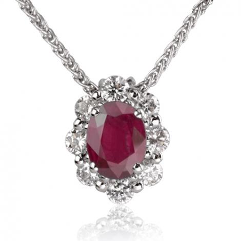 Collier Rubis ovale 1.30 ct entouré de diamants 0.60 ct diamant Maya - CL3827-RU1.30