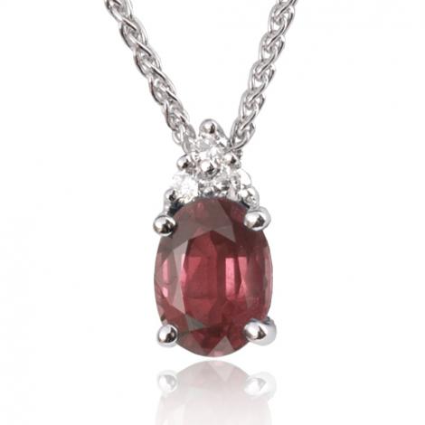 Collier rubis ovale 1.35 ct serti de 3 diamants 0.09 ct diamant Lina - CL3247-RU1.35