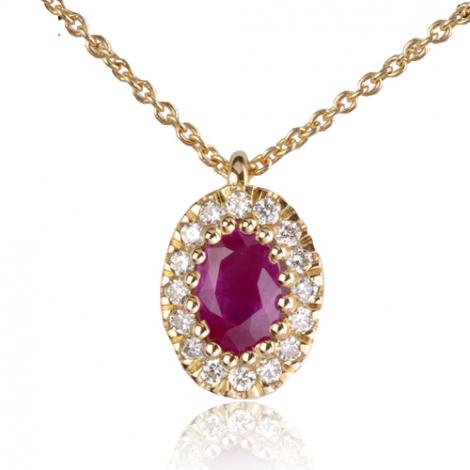 Collier Rubis ovale 1 carat entouré de diamants 0.16 ct diamant Marylène - CL4314-RU1