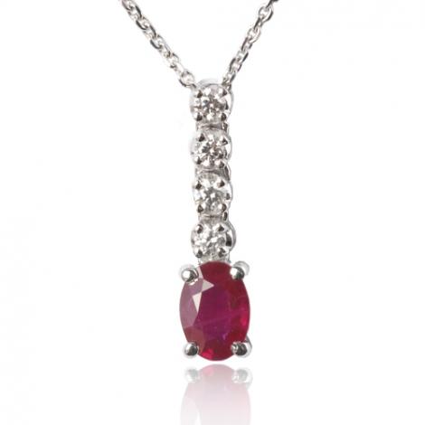 Collier rubis ovale 1 ct serti de diamants 0.20 ct diamant Asya - CL3923-RU1