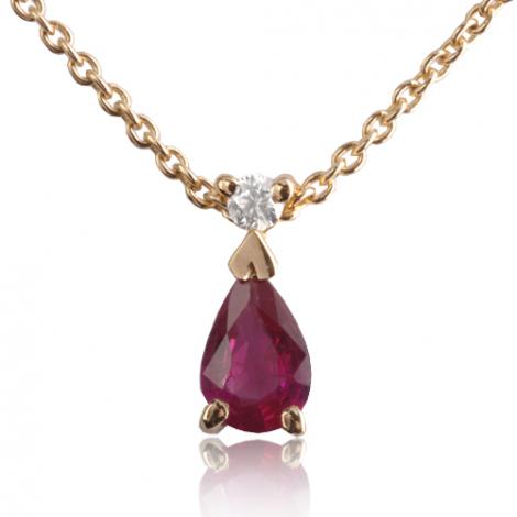 Collier Rubis poire 0.30 et diamants diamant Ondine - CL4315-RU0.30