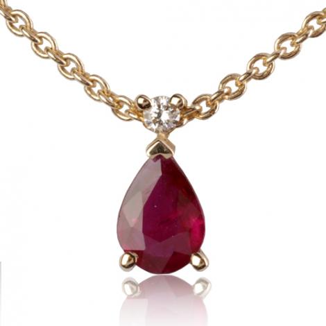 Collier Rubis poire 0.52 serti de diamant diamant Élizabeth - CL4315-RU0.55