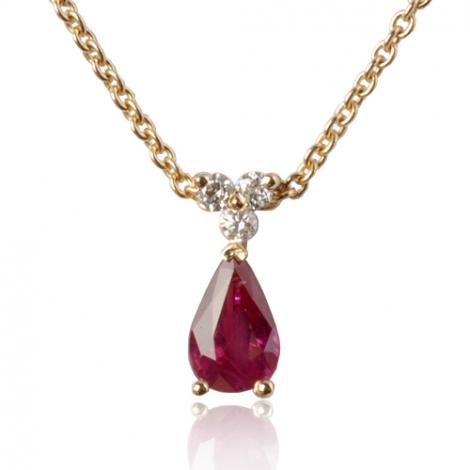 Collier rubis poire 0.55 ct serti de 3 diamants 0.03 ct diamant Naïla - CL4317-RU0.55