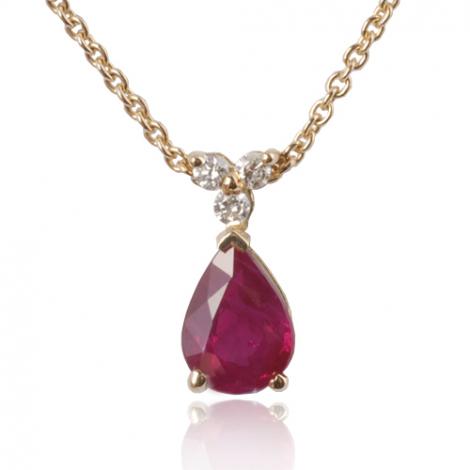 Collier rubis poire 0.90 ct serti de 3 diamants 0.06 ct diamant Léanne - CL4317-RU0.90