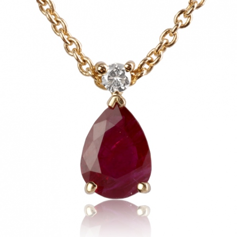 Collier Rubis poire 0.90 serti d'un diamant diamant Éléannor - CL4315-RU0.90
