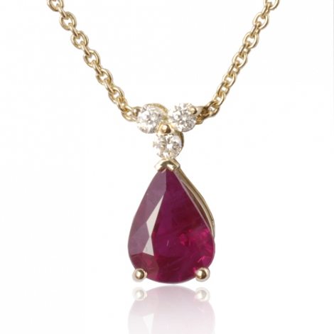 Collier rubis poire 1.20 ct serti de 3 diamants 0.09 ct diamant Estelle - CL4317-RU1.20