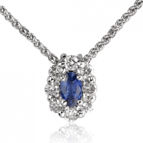Collier Saphir 0.23 ct serti de diamants 0.32 ct 0.23ct - Héloïse-CL3829-0.23