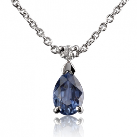 Collier saphir 0.30 ct serti d'un diamant 0.3ct - Ondine-CL4315-0.30