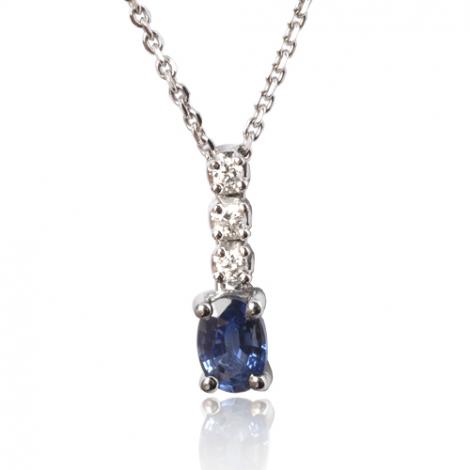 Collier saphir 0.60 ct serti de diamants 0.09 ct  0.6ct - Azaly-CL3922-0.60