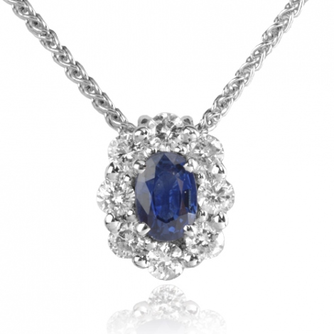Collier Saphir 0.60 ct serti de diamants 0.52 ct 0.6ct - Lola-CL3828-0.60