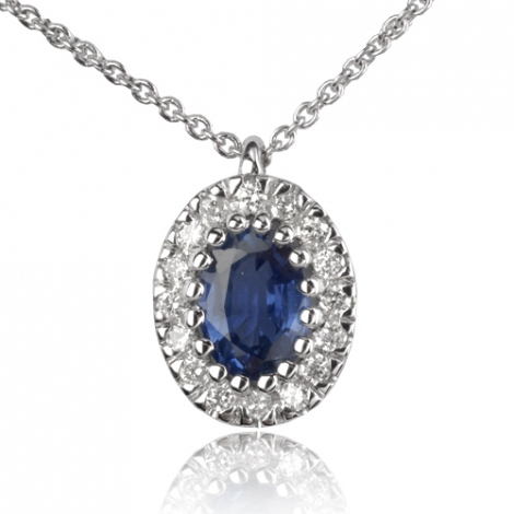 Collier Saphir 1.30 ct serti de diamants 0.16 ct 1.3ct - Fannie-CL4310-1.30