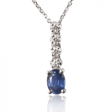 Collier saphir 1 carat serti d'une bande de dimants 0.20 ct 1ct - Asya-CL3923-1