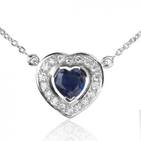 Collier Saphir coeur 0.60 ct entouré de diamants 0.18 ct 0.6ct - Kyana-CL4371-0.60