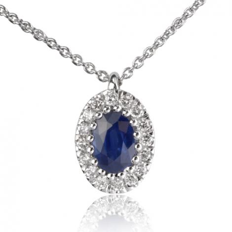 Collier Saphir d'un carat serti de diamants 0.16 ct 1ct - Marylène-CL4314-1