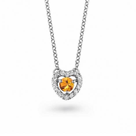 Collier Saphir orange diamant 0.10 ct One More Salina 048356KA