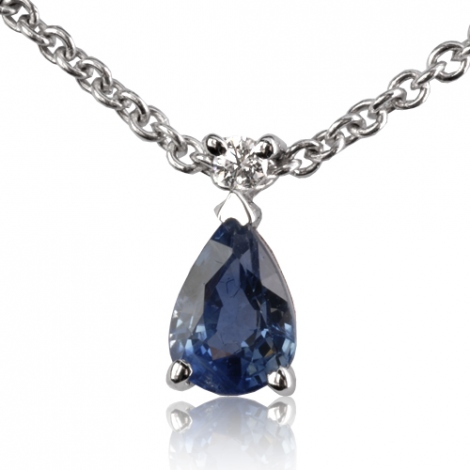 Collier saphir poire 0.55 ct serti d'un diamant 0.55ct - Élizabeth-CL4315-0.55